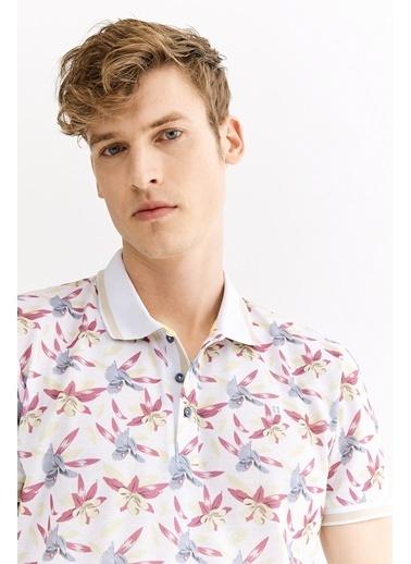 Avva Erkek  Polo Yaka Baskılı Tişört A01Y1011 Beyaz